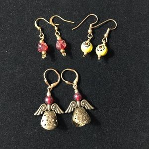 3 sets of red & yellow earrings with angels